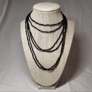 Vintage versatile black freshwater pearl necklaces
